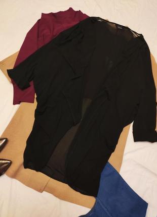 Чёрный шифоновый кардиган большого размера оверсайз батал большой свободный длинный