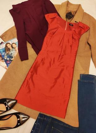 Красное алое платье плащёвка прямое с молнией на спине оазис