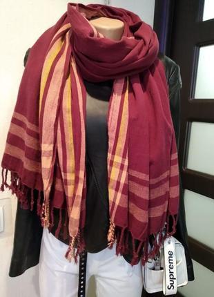 Шикарный хлопковый широкий палантин шарф