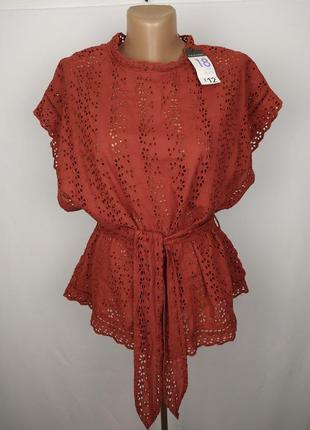 Блуза новая стильная терракотовая под пояс большой размер primark uk 18/46/xxl