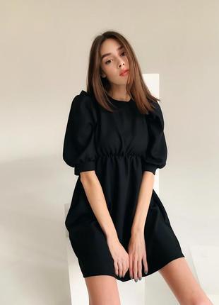Платье рукава фонарики черное