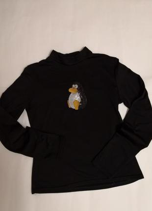 Тёплый гольф - водолазка с пингвиненком.