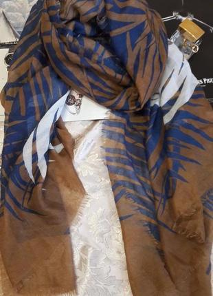 Брендовый большой шарф палантин chicoree принт листья пальмы 182/ 88