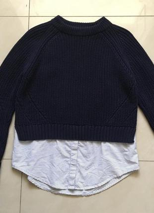 Синий свитер рубашка