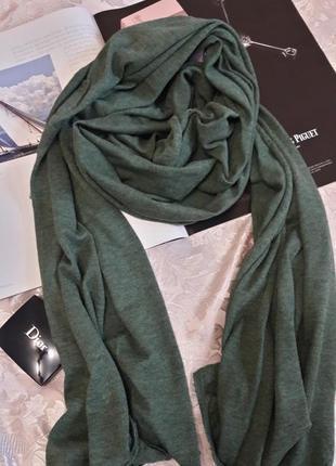 Теплый  брендовыйшарф шаль палантин  ffc цвет зеленый мох шерсть/шелк 206/70