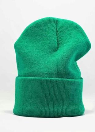 Зелена шапка біні з підворотом, багато кольорів
