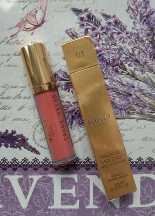 Magical holiday vinyl lip lacquer! жидкая лаковая помада kiko milano 03 ( rose petals)
