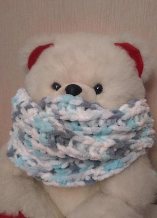Тепленький зефирный шарф снуд хомут