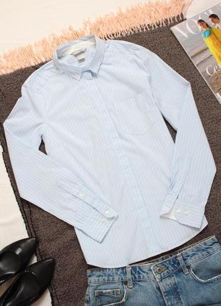 Голубая рубашка в белую полоску 38 размер м h&m