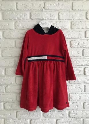 Плаття тепле tommy hilfiger велюрове з капішоном, платье велюровое спортивное