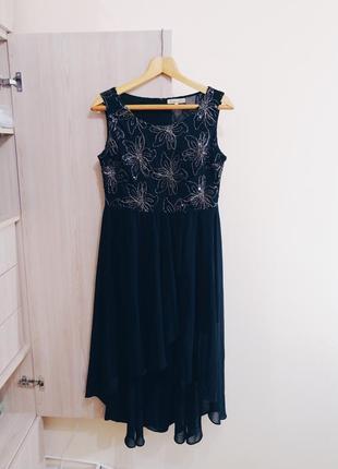 Черное вечернее пышное платье в паетки в цветы