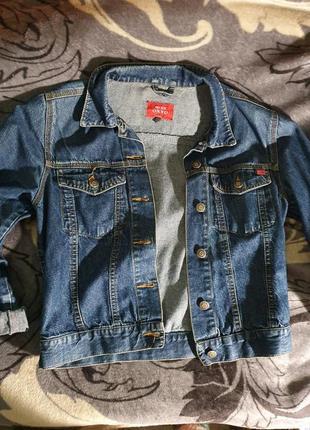 Джинсовая куртка пиджак джинсовка синяя темная короткая топ