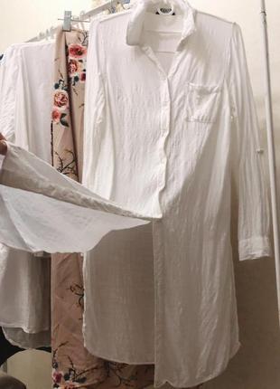 Рубашка туника натуральная с разрезами тренд