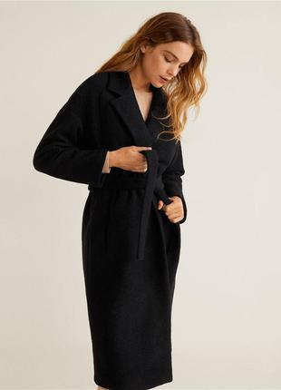 Шерстяное пальто халат с поясом  zara