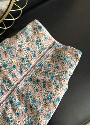 Вельветовая юбка в цветы
