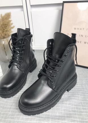Ботинки кожаные  зимние с мехом отличное качество