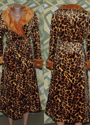 Женский халат леопард на запах без капюшона шаль качество ткань турция