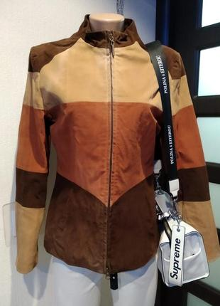 Стильная брэндовая куртка пиджак жакет из натуральной замши