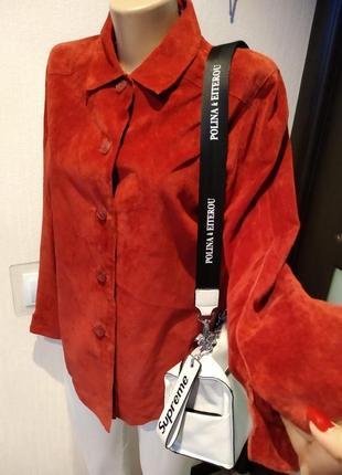 Стильная брэндовая куртка рубашка жакет пиджак из натуральной замши
