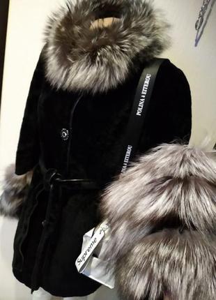 Отличная мутоновая с чернобуркой шуба пальто