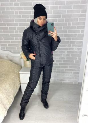 Теплый зимний костюм на синтепоне черный