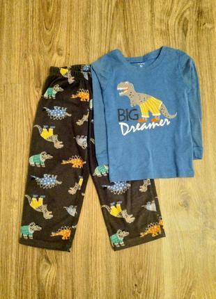 Теплая пижама на мальчика с динозавром