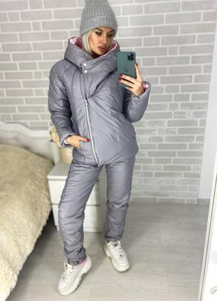 Теплый зимний костюм на синтепоне серый