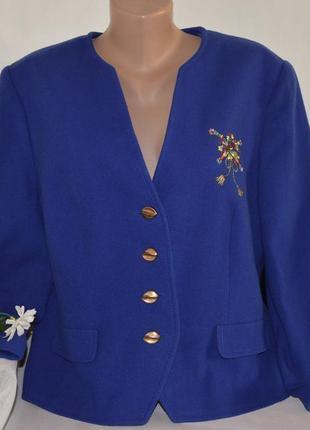 Брендовый пиджак жакет separates by fink кашемир шерсть new wool вышивка большой размер