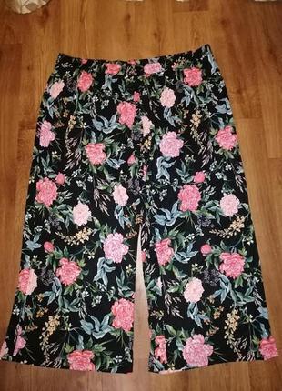 🌺🌷🌺женские брюки, штаны расклешенные палаццо кюлоты в цветочный принт чёрного цвета h&m🔥🔥🔥