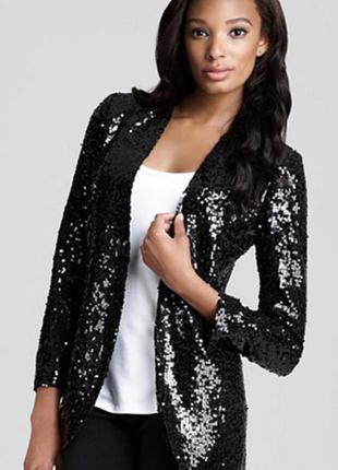 Брендовый черный пиджак накидка atmosphere паетки этикетка