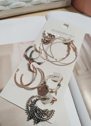Серьги кольца accessorize. золотистые сережки колечка с бисером этно бохо