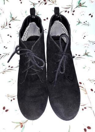🌿1+1=3 стильные фирменные черные ботинки полусапожки из замши next, размер 40