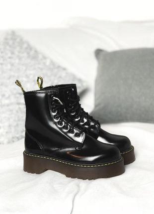 Dr martens jadon black женские ботиночки платформе с мехом/осень/зима/весна😍