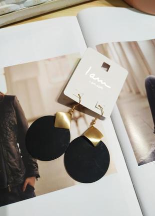 Черные матовые серьги-подвески i am, круглые сережки asos