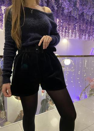 Чёрные шорты с поясом высокая посадка зима