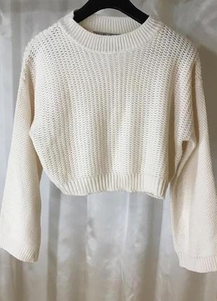 Укороченный свитер рукава трубы zara
