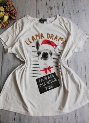 Крутая новогодняя футболка с пайетками размер 18-20