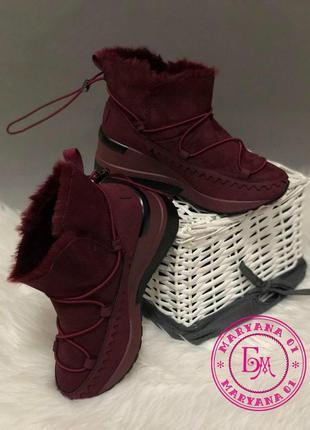 Зимние ботинки, полусапожки, угги на меху бордовые