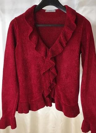 Красная велюровая кофта с воланами marks & spensers