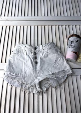 Джинсовые рваные шорты, белые с высокой посадкой tally weijl шорти