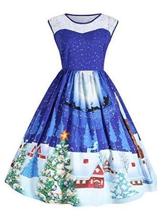 Винтажное платье миди с новогодним принтом размер 18