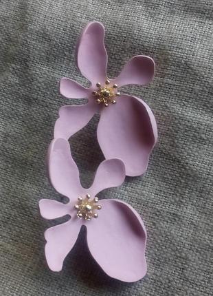 Серьги цветы розовые