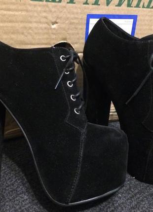 Truffle ботинки ботильоны замшевые бархатные на платформе 23.5-24 см