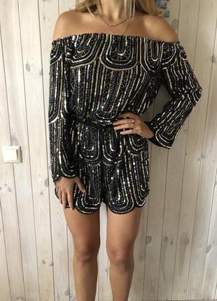 Шикарный комбинезон ( платье ) полностью в бисере и пайетках