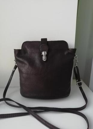 Шкіряна фірмова італійська сумка кросбоді vera pelle!!!