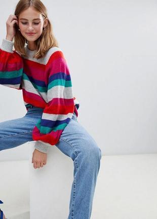 Мягенький светр brave soul в яскраву полоску з широкими рукавами