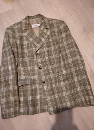 Брендовыц пиджак клетка лен