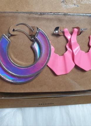 Stradivarius комплект сережки набор розовые фиолетовые