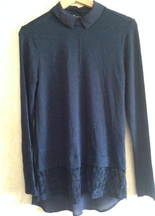 Синий вискозный свитер/ рубашка блузка трикотаж кружево размер uk 10  s/m