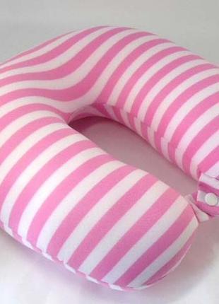 Шейная подушка розовая полосатая